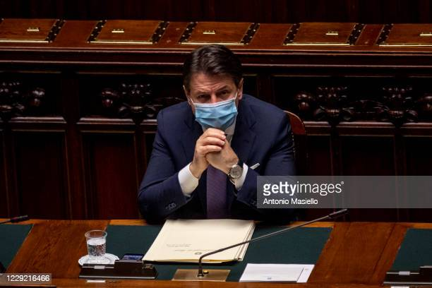 Italian Prime Minister Giuseppe Conte wearing a protective mask attends the informative debate about further initiatives adopted by Italian...