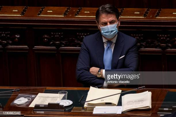 Italian Prime Minister Giuseppe Conte wearing a protective mask attends the communications on the current political situation, at the Chamber of...