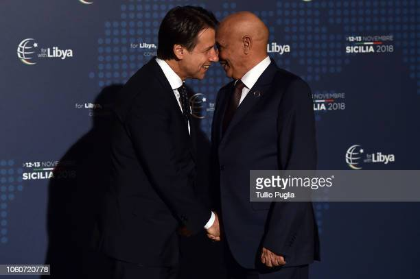 Italian Prime Minister Giuseppe Conte welcomes Aguila Saleh Issa President of the Libyan House of Representatives during the Conference for Libya at...