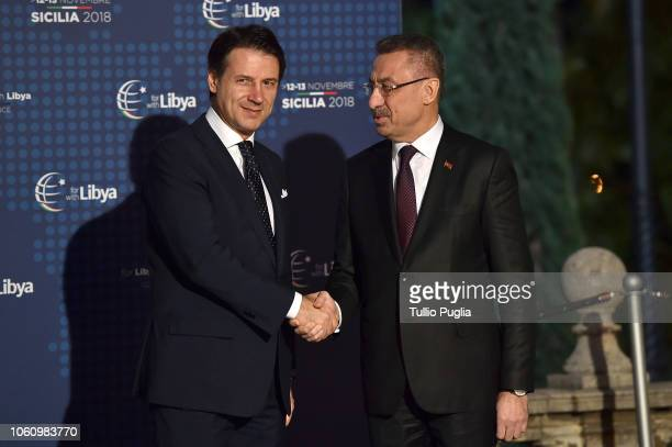 Italian Prime Minister Giuseppe Conte welcomes Fuat Oktay, Vice President of Turkey during the Conference for Libya at Villa Igiea on November 12,...