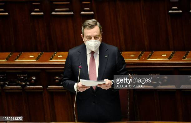 Italian Prime Minister Mario Draghi addresses deputies in the Italian Parliament on April 26, 2021 at Montecitorio Palace in Rome as he presents...