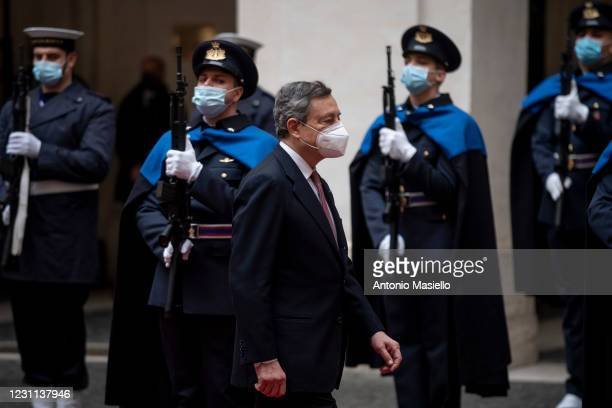 Italian Prime Minister Mario Draghi arrives at Palazzo Chigi for a formal handover ceremony and the first Ministry Council meeting of the new Italian...