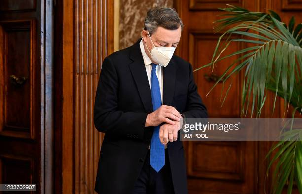 Italian Prime Minister Mario Draghi meets the United States Secretary of State Antony Blinken at the Palazzo Chigi on June 28, 2021 in Rome, Italy....