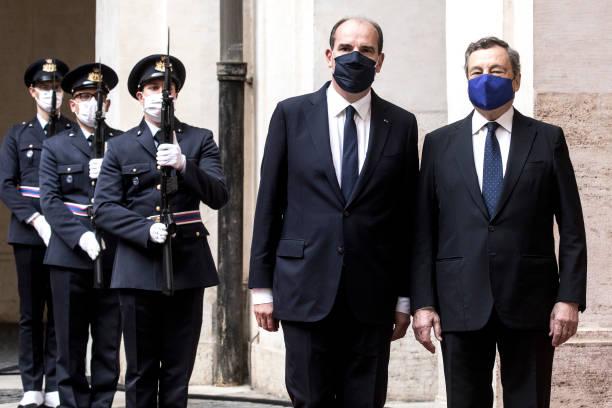 ITA: Italian Prime Minister Mario Draghi Welcomes French Counterpart Jean Castex