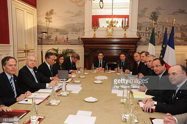 Italian Prime Minister Mario Monti and French President Francois Hollande attend the French Italian Summit at the Prefecture Building on December 3...