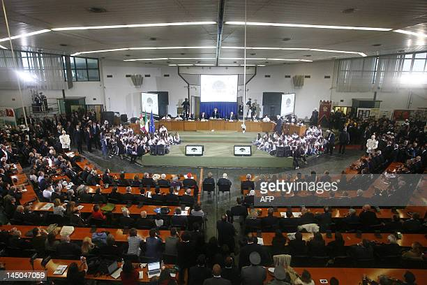 Italian Prime Minister Mario Monti and Italian President Giogio Napolitano sit during a ceremony at bunker hall marking the 20th anniversary of the...