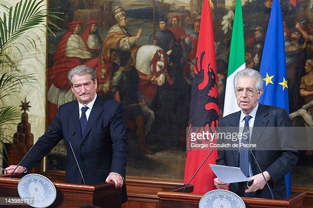 Italian Prime Minister Mario Monti attend a press conference with Albanian Prime Minister Sali Berisha at Palazzo Chigi on May 7 2012 in Rome Italy...