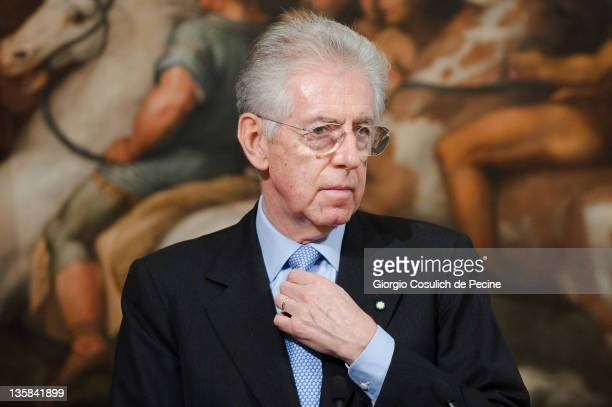 Italian Prime Minister Mario Monti attends a press conference with Mustafa Abdel Jalil, the head of Libya's National Transitional Council , at...