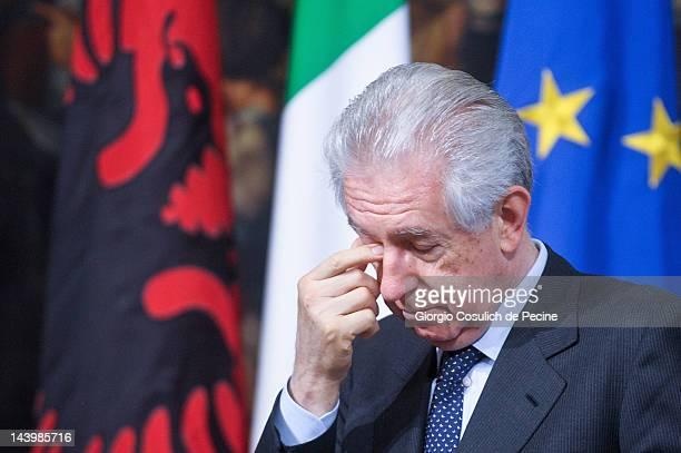 Italian Prime Minister Mario Monti attends a press conference with Albanian Prime Minister Sali Berisha at Palazzo Chigi on May 7 2012 in Rome Italy...