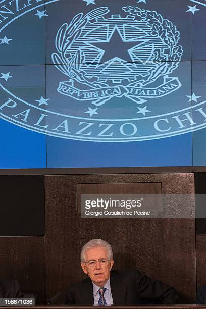 Italian Prime Minister Mario Monti attends his end of the year speech on December 23, 2012 in Rome, Italy. During the press conference Premier Mario...