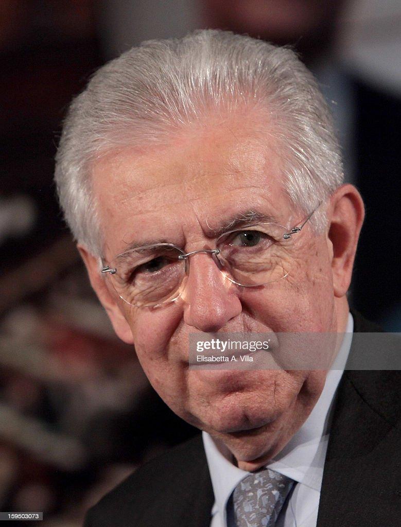 Italian Prime Minister Mario Monti attends 'Porta A Porta' Italian TV Show on January 14, 2013 in Rome, Italy.
