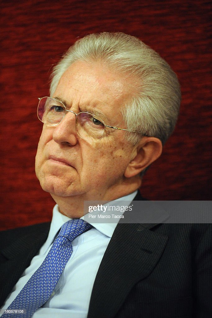 Italian Prime Minister Mario Monti attends the presentation of Lombardy candidates of 'Scelta Civica con Monti per l'Italia' on February 2, 2013 in Milan, Italy. Monti used the rally to unveil the list of Lombardy candidates for the 'Civic Choice' (Scelta Civica) movement that will be running in February's parliamentary elections.