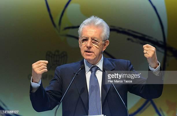 Italian Prime Minister Mario Monti delivers a speech during day two of the Confindustria meeting 'Cambia Italia Riforme Per Crescere' on March 17...