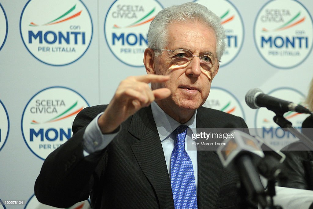 Italian Prime Minister Mario Monti delivers a speech during of Lombardy candidates of 'Scelta Civica con Monti per l'Italia' on February 2, 2013 in Milan, Italy. Monti used the rally to unveil the list of Lombardy candidates for the 'Civic Choice' (Scelta Civica) movement that will be running in February's parliamentary elections.