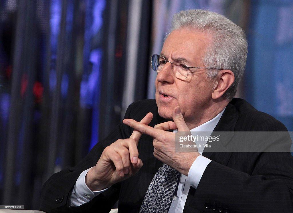Mario Monti At 'A Porta A Porta' TV Show - February 21, 2013