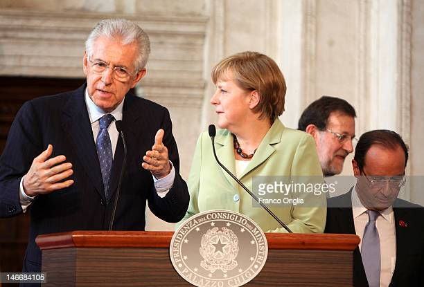 Italian Prime Minister Mario Monti, German Chancellor Angela Merkel, Spanish Prime Minister Mariano Rajoy and French President Francois Hollande...