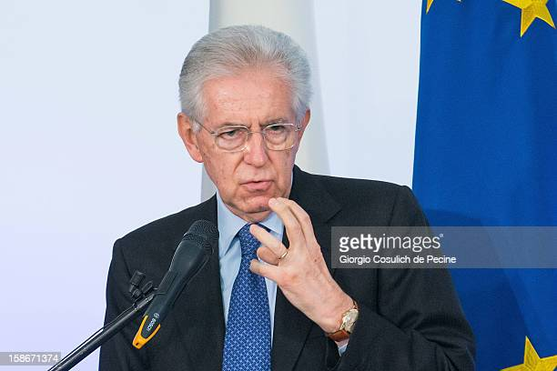 Italian Prime Minister Mario Monti gestures during his end of the year speech on December 23, 2012 in Rome, Italy. During the press conference...
