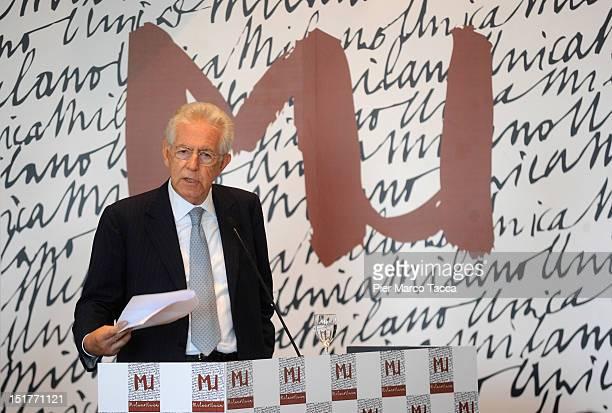Italian Prime Minister Mario Monti gives a speech at the Sala Bolaffi of Milano FieraCity at Milano Unica fashion fair presentation on September 11,...