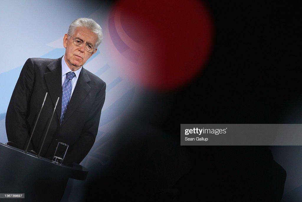 Merkel And Monti Meet Over Eurozone Debt Crisis : News Photo