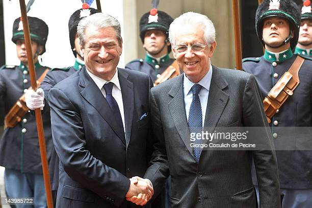 Italian Prime Minister Mario Monti shakes hands with Albanian Prime Minister Sali Berisha before a press conference at Palazzo Chigi on May 7 2012 in...