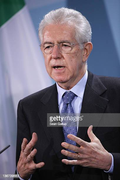 Italian Prime Minister Mario Monti speaks to the media after talks with German Chancellor Angela Merkel at the Chancellery on January 11, 2011 in...