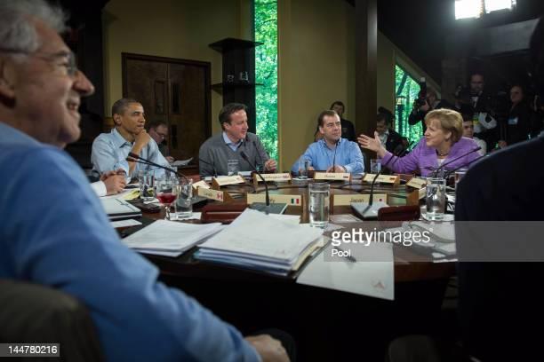 Italian Prime Minister Mario Monti, U.S. President Barack Obama, British Prime Minister David Cameron, Russian Prime Minister Dmitry Medvedev and...