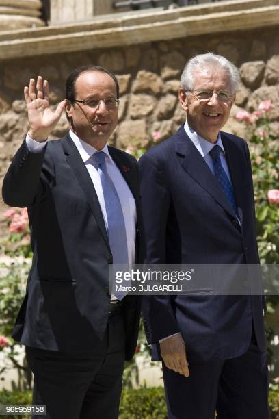 Italian Prime Minister Mario Monti with French President Francois Hollande that greets the photographers in Villa Madama on June 22 2012 in Rome in...