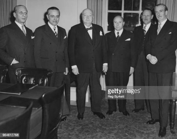 Italian Prime Minister Mario Scelba and Italian Foreign Minister Gaetano Martino pay an official visit to London 15th February 1955 From left to...