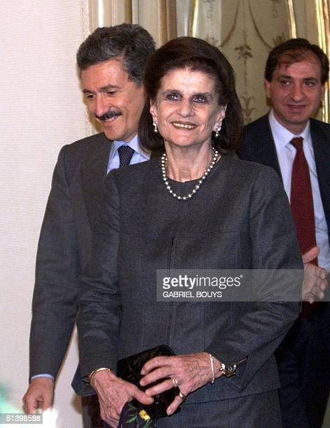 Italian Prime minister Massimo D'Alema welcomes Lea Rabin widow of former Israeli Prime Minister Yitzhak Rabin 15 December 1999 at the Palazzio Chigi...