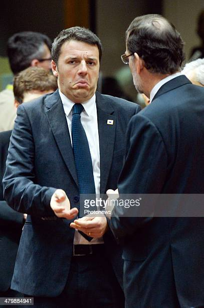 Italian Prime Minister Matteo Rentzi during European Summit on March 21 2014 in Brussels Belgium Heads of state and Government of the European Union...