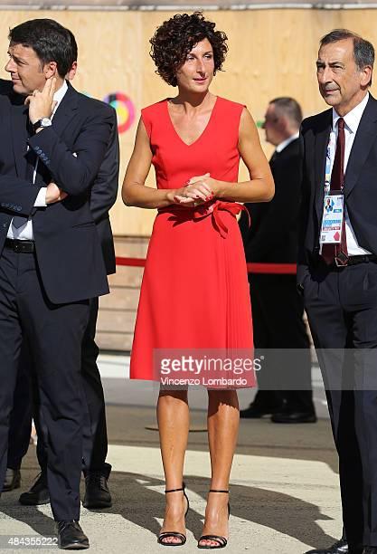 Italian Prime Minister Matteo Renzi Agnese Landini and Giuseppe Sala visit the Expo 2015 on August 17 2015 in Milan Italy