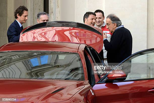 Italian Prime Minister Matteo Renzi and CEO of Fiat Chrysler Automobiles Sergio Marchionne attend the unveiling of Italian car manufacturer Alfa...