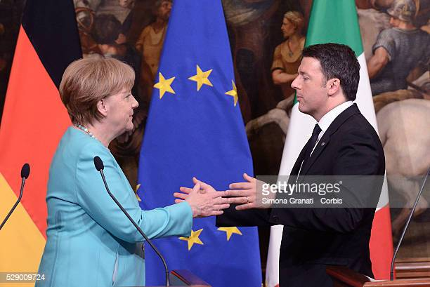 Italian Prime Minister Matteo Renzi and German Chancellor Angela Merkel attend a joint press conference at Palazzo Chigion May 5 2016 in Rome Italy