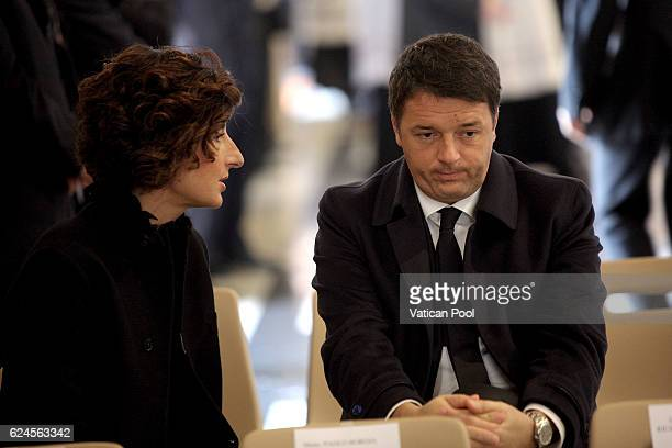 Italian Prime Minister Matteo Renzi and his wife Agnese Renzi attend the closing of the Jubilee of Mercy in St Peter's Basilica on November 20 2016...