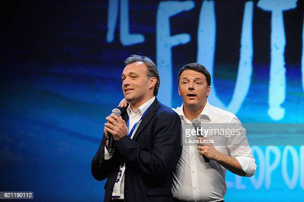 Italian Prime Minister Matteo Renzi and italian politician Matteo Richetti speak during the meeting of the Leopolda 2016 on November 4 2016 in...