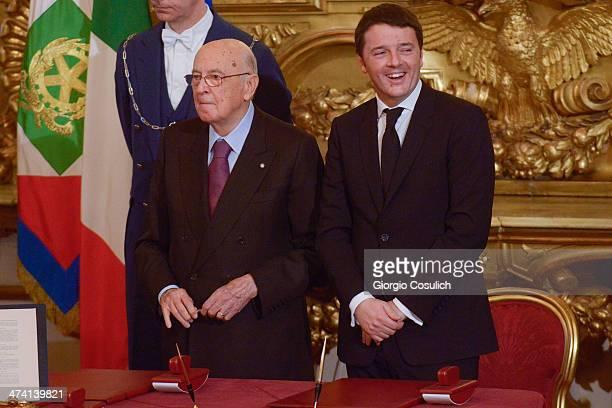 Italian Prime Minister Matteo Renzi and Italy's Presidenton Giorgio Napolitano attend the swearing in ceremony of the new government at Quirinale...