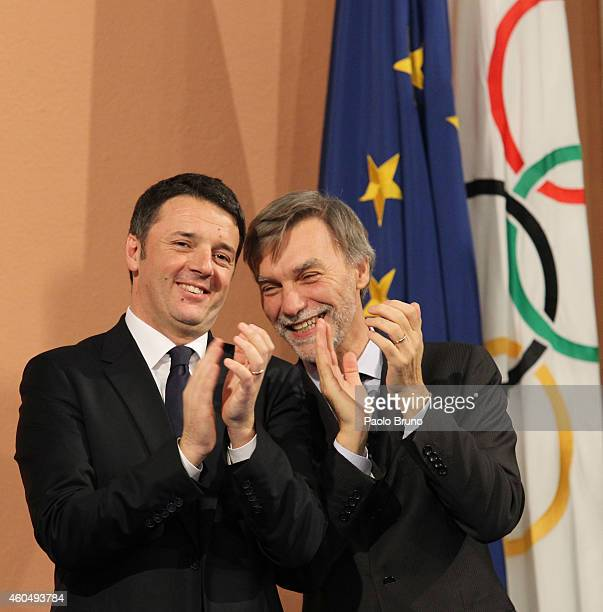 Italian Prime Minister Matteo Renzi and State Secretary to Prime Minister Graziano DelRio announce Rome's candidacy to host the 2024 Olympic Games...