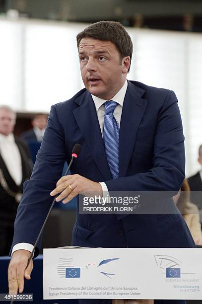 Italian Prime Minister Matteo Renzi arrives for a debate on the Italys EU Presidency priorities in the European Parliament on July 2 2014 in...