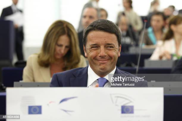 Italian Prime Minister Matteo Renzi arrives in the plenary room in the European Parliament ahead of the beginning of the sixmonth Italian presidency...