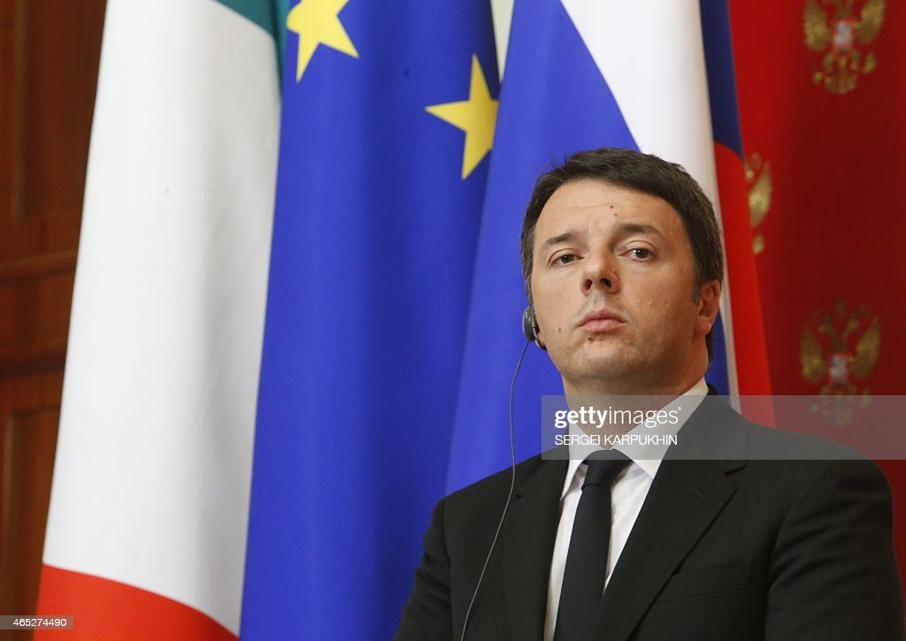 Italian Prime Minister Matteo Renzi attends a joint press conference with Russian President following their meeting at the Kremlin in Moscow on March 5, 2015.