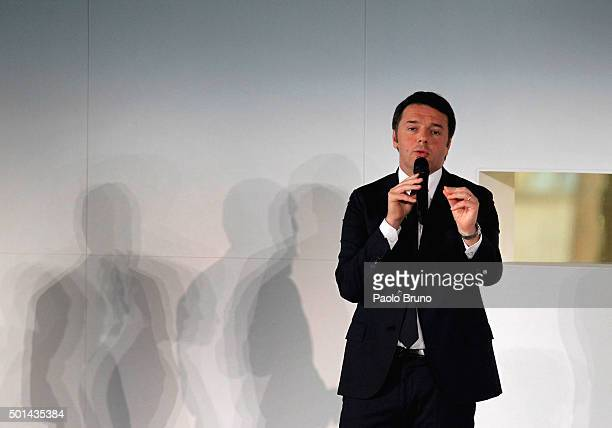 Italian Prime Minister Matteo Renzi attends the Italian Olympic Commitee 'Collari d'Oro' Awards ceremony on December 15 2015 in Rome Italy