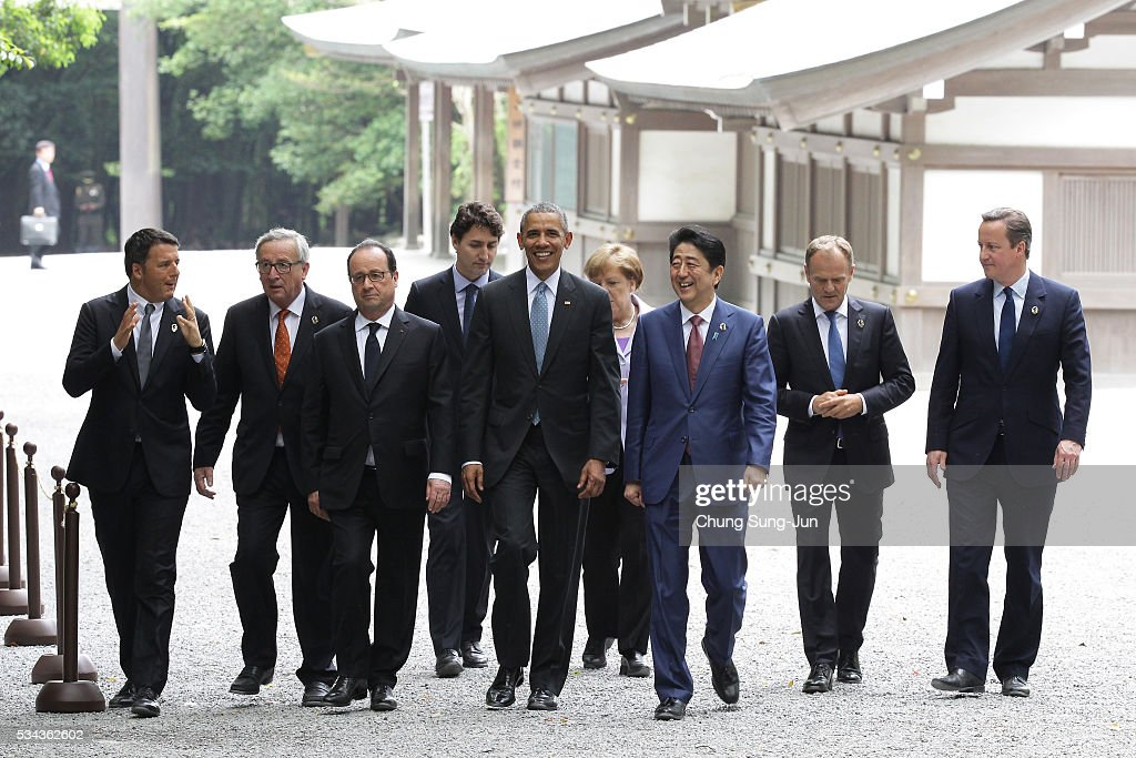 Italian Prime Minister Matteo Renzi, European Commission President Jean-Claude Juncker, French President Francois Hollande, Canadian Prime Minister Justin Trudeau, US President Barack Obama, German Chancellor Angela Merkel, Japanese Prime Minister Shinzo Abe, European Council President Donald Tusk and British Prime Minister David Cameron walk at Ise-Jingu Shrine on May 26, 2016 in Ise, Japan. In the two-day summit, the G7 leaders are scheduled to discuss the pressing global issues including counter-terrorism, energy policy, and sustainable development.