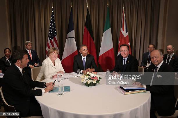 Italian Prime Minister Matteo Renzi Germany's Chancellor Angela Merkel US President Barack Obama British Prime Minister David Cameron and French...