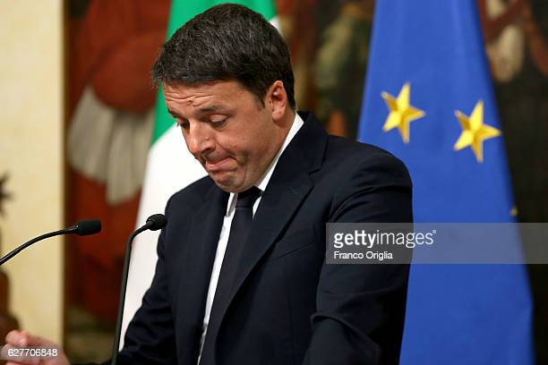 Italian Prime Minister Matteo Renzi give a speech after the results of the referendum on constitutional reforms at Palazzo Chigi on December 5 2016...