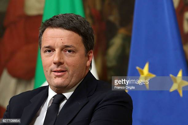 Italian Prime Minister Matteo Renzi give a speech after the results of the referendum on constitutional reforms at Palazzo Chigi on December 5, 2016...