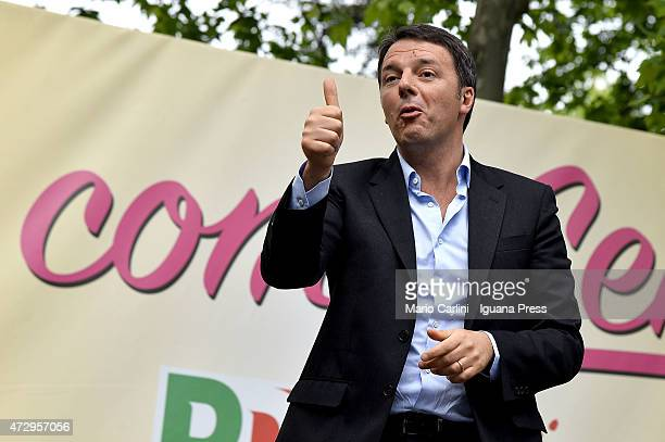Italian Prime Minister Matteo Renzi holds his speech during the 70thFesta Dell'Unita's closing ceremony at Montagnola Park on May 3 2015 in Bologna...