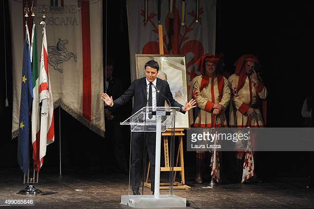 Italian Prime Minister Matteo Renzi inaugurates the Festival of Tuscany at the historic opera house Teatro della Pergola on November 28, 2015 in...