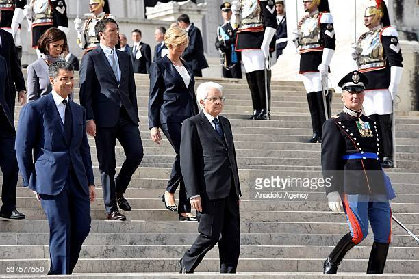 Italian Prime Minister Matteo Renzi , Italian President Sergio Mattarella , Italian President of the Chamber of Deputies, Laura Boldrini and Italian...