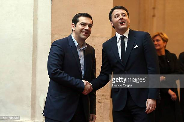 Italian Prime Minister Matteo Renzi meets newly elected Greece's Prime Minister Alexis Tsipras at Palazzo Chigi on February 3 2015 in Rome Italy...