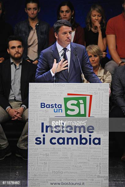 Italian Prime Minister Matteo Renzi officially opens the national campaign for the 'Yes' vote in the constitutional referendum at Obihall on...